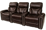 Cambridge Theater Seating - 3 Brown Leather Chairs By SeatCraft 12026 - Manual Recline