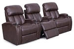 Cambridge Theater Seating - 3 Brown Leather Chairs By SeatCraft 12026 - Power Recline