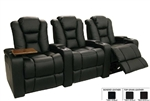 Meridian Theater Seating - 3 Leather Chairs By SeatCraft 12028 - Manual Recline