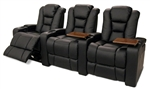 Meridian Theater Seating - 3 Black Bonded Leather Chairs By SeatCraft 12028 - Power Recline