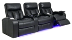 Verona Theater Seating - 3 Black Leather Chairs By SeatCraft 841 - Power Recline