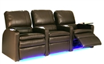Valencia Leather Power Theater Seating - 3 Leather Chairs By SeatCraft 847