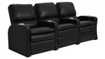Valencia Black Leather Power Theater Seating - 3 Black Leather Chairs By SeatCraft 847