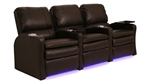 Valencia Brown Leather Power Theater Seating - 3 Leather Chairs By SeatCraft 847