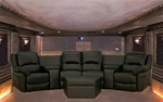 Sarnen 7 Piece Black Leather Theater Seating By Theatre Delux - 8327