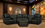 Boden 7 Piece Black Leather Theater Seating Sectional By Theatre Delux - 8802-B