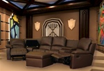 Boden 7 Piece Brown Leather Theater Seating Sectional By Theatre Delux - 8802-BR
