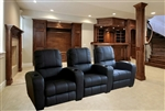 Lugano Theater Seating - 3 Black Leather Chairs By Theatre Delux - HT001-B