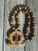 Golden Oak Lavalier w/ Alternating Wooden Beads
