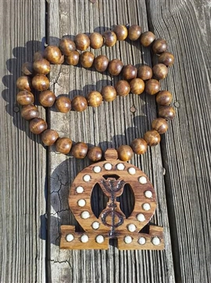 Golden Oak Lavalier w/ Matching Wooden Beads