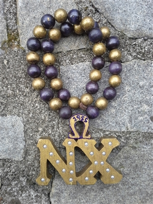 Old Gold Chapter Tiki Purple and Gold Beads