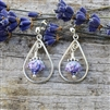 Lavender Buds Tiny Teardrop Earrings