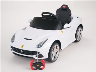 Ferrari F12 Berlinetta 12V Kids Ride On Car + Remote - White