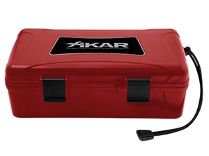 Xikar Red Travel Humidor with Boveda Humidifier and two lock tite closures - 10 Count Blank Dome