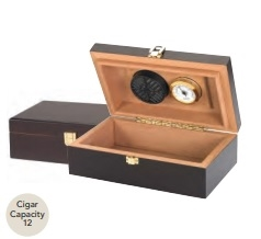 12 Count Humidor with Hygrometer and Humidifier - Mahogany