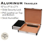12 Count Aluminum Travel Humidor with Cutter, Hygrometer, and Humidifier