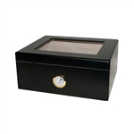 Monaco Black Glass Top 25 Count Humidor