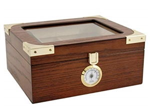 Capri Elegant 25 - 50 Count Glass Top Humidor with External Analog Hygromter -  Oak with Walnut Finish ..