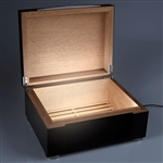 Xikar HP 75 Count Humidor Includes Interior LED Lighting and Removable Air-Flow Grate - Black
