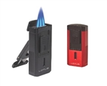 Lotus Duke Triple Flame Lighter with 60 Ring V Cutter - Red & Black