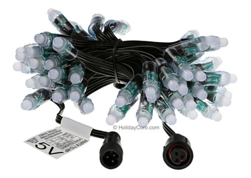 "Smart / Pixel RGB LED Node 8mm/12mm / 5v / 2811 / 50 Node String / 3"" Spacing / Black / Waterproof EasyPlug3 Input and Output Cables"