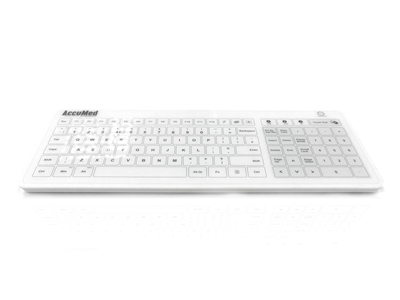 KYB-ACCU-GLASSUK - Accuratus AccuMed Glass- All in One USB wired, RF2.4 GHz & Bluetooth® Wireless Easy Clean Tempered Glass Clinical / Medical Touchpad Keyboard