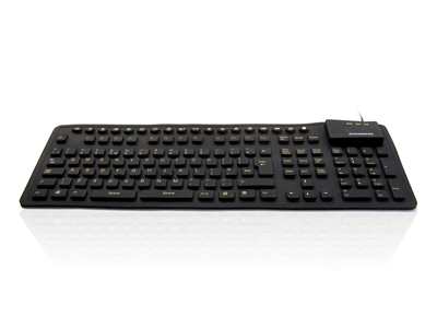 KYB-WP127-HIVIS - Accuratus WP127 - USB & PS/2 Full Size Sealed Flexible Silicone Multimedia Computer Keyboard with High Visibility Key Legends