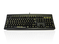 KYBAC260-HIVISLO - Accuratus 260 High Visibility - USB Full Size High Visibility Lower Case Professional Keyboard with Contoured Full Height Touch Typing Keys & Patented One Touch Euro Key