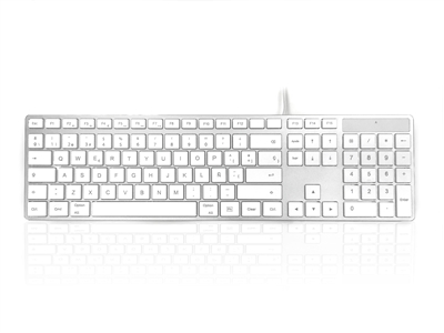 KYBAC301-UMAC-SP - Accuratus 301 MAC - USB Wired Full Size Apple Mac Multimedia Keyboard with White Square Tactile Keys and Silver Case - SPANISH Layout