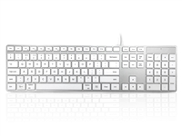 KYBAC301-USBMACW - Accuratus 301 MAC - USB Wired Full Size Apple Mac Multimedia Keyboard with White Square Tactile Keys and Silver Case