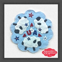 Ewe Ray 4 the USA Candle Mat Penny Rug