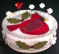 Cardinal Winter Pincushion Wool Felt Kit