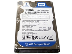 "Western Digital Scorpio WD1600BPVT 160GB 8MB 5400RPM SATA 3.0Gb/s Notebook 2.5"" Hard Drive - Factory Recertified w/6 Month Warranty"