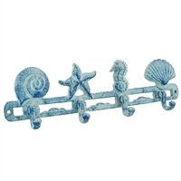 Nautical Hook | Blue cast iron beach-themed wall hook perfect for holding keys, caps and leashes.