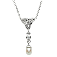 Platinum & Pearl Trinity Drop Pendant | Irish Made Platinum Plated Celtic Jewelry | LaBelle's General Store