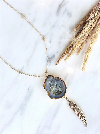 Druzy-Leaf Necklace