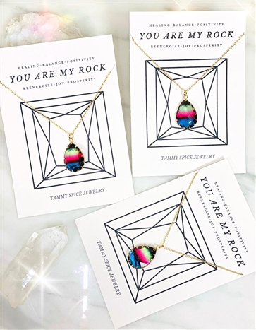 You Are My Rock Rainbow Necklace