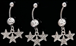 Pave CZ Triple Star Dangle Belly Ring