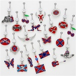 Rebel Flag Dangle Belly Ring