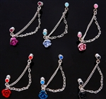 Rose Tragus Barbell w/ Chain