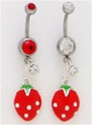Strawberry CZ Dangle Belly Ring