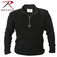 Rothco Quarter Zip Acrylic Commando Sweater - Black