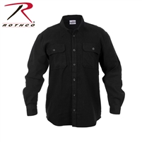 Rothco Heavy Weight Solid Flannel Shirt - Black - 2XL