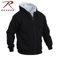 Rothco Heavyweight Sherpa Lined Zippered Sweatshirt - Black - 3XL