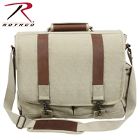 Rothco Vintage Canvas Pathfinder Laptop Bag With Leather Accents - Khaki