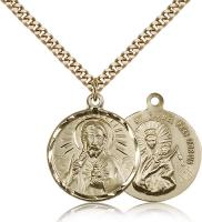 "Gold Filled Scapular Pendant, Stainless Gold Heavy Curb Chain, 7/8"" x 3/4"""