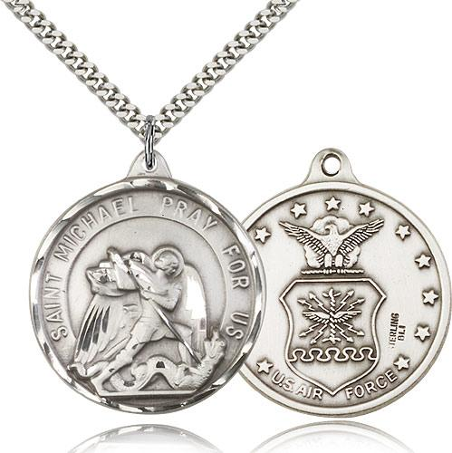 Sterling silver st michael air force pendant stainless silver sterling silver st michael air force pendant stainless silver heavy curb chain aloadofball Choice Image