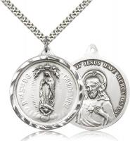 "Sterling Silver Our Lady of Guadalupe Pendant, Stainless Silver Heavy Curb Chain, 1 3/8"" x 1 1/4"""