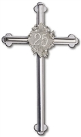 Silver 25th Anniversary  Wedding Cross