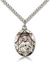 "Sterling Silver Scapular Pendant, Stainless Silver Heavy Curb Chain, 1"" x 5/8"""